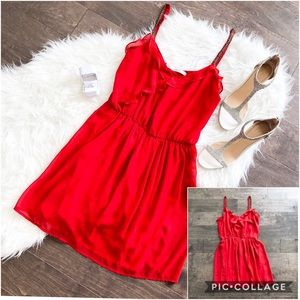 Zara Trafaluc Red Beaded Strap Ruffle Dress